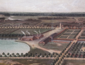 Smedjorna vid övre bruksdammen. Detalj av bruksvy av okänd konstnär ca 1700.
