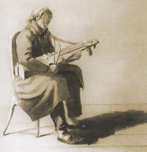 Schlüsselfidelspielmann. 18. Jahrhundert (aus: Lövstabruk – ej sin like i hela riket)