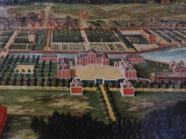 Der Herrenhof in Leufsta um 1700 – Detail eines Ölgemäldes im Herrenhof. Foto: Verfasser.