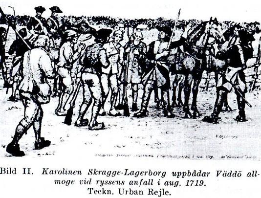[Bildtext] Der schwedische Offizier Skragge-Lagerborg stellt im August 1719 vor dem Anfall auf der Insel Väddö der Russen das Bauernaufgebot zusammen.