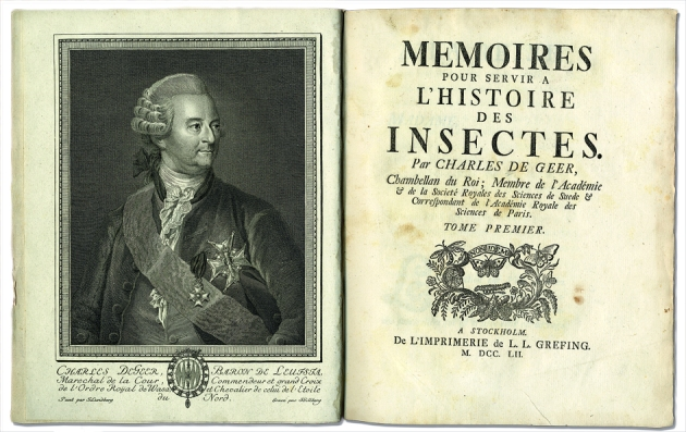 The entomologist Charles De Geer and the title page of his great work on insects. Uppsala University library.