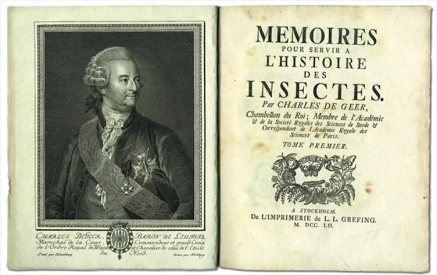 Der Entomologe Charles De Geer und die Titelseite seines großen Werkes über Insekten. Universitätsbibliotek Uppsala.