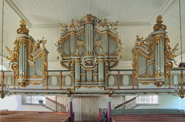 Johan Niclas Cahmans orgel från 1728 i brukskyrkan. foto: Gabriel Hildebrand, 2015.